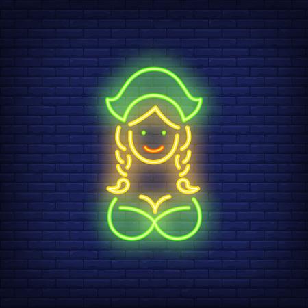 Oktoberfest waitress on brick background. Neon style vector
