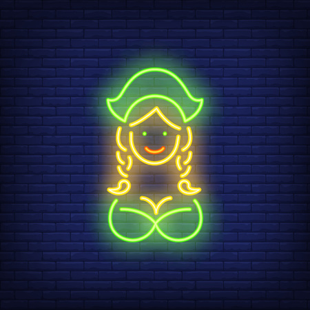 Oktoberfest waitress on brick background. Neon style vector