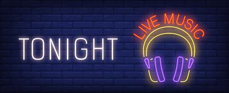 Tonight live music neon sign