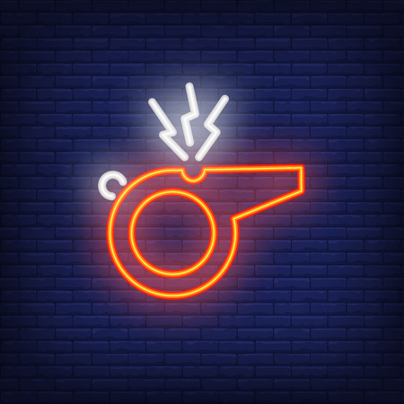 Referee whistle on brick background. Neon style illustration