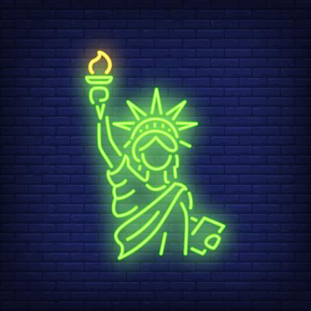 Statue of Liberty on brick background. Neon style illustration