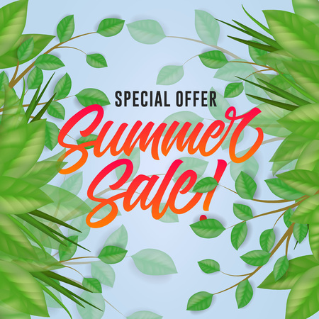Special offer lettering with leaves