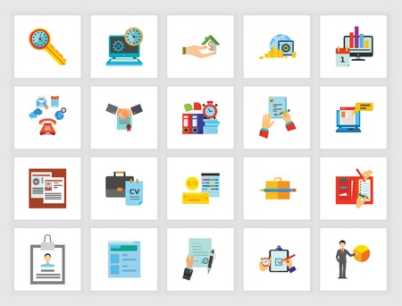 Business documents concept. Flat icon set. Contract, cv, report, message, resume. Can be used for topics like recruitment, partnership, management