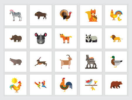 Animal species concept. Flat icon set. Zoo, domestic animals, wild animal. Can be used for topics like nature, fauna, environment Illustration