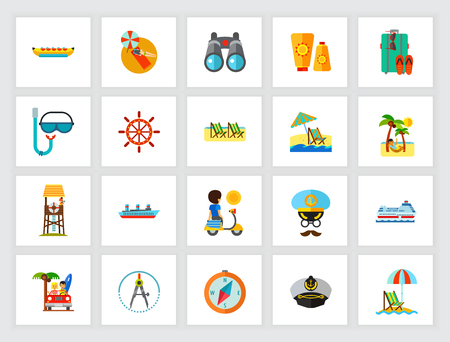 Beach vacation concept. Flat icon set. Summer resort, seaside, summer vacation. Can be used for topics like travel, tourism, recreation