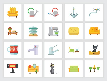Domestic life concept. Flat icon set. Housework, furniture, comfort. Can be used for topics like home, housekeeping, service Stock Illustratie