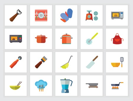 Concept d'ustensiles de cuisine. Jeu d'icônes plat. Ustensiles de cuisine, matériel de cuisine, préparation des aliments. Peut être utilisé pour des sujets tels que la vie domestique, le ménage, les travaux ménagers Vecteurs