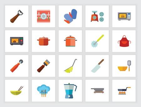 Concepto de utensilios de cocina. Conjunto de iconos planos. Utensilios de cocina, equipo de cocina, preparación de alimentos. Se puede utilizar para temas como la vida doméstica, la limpieza, las tareas del hogar. Ilustración de vector