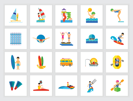 Swimming activity concept. Flat icon set. Swimming pool, water park, water sport. Can be used for topics like leisure, summer vacation, professional sport, travel Illustration
