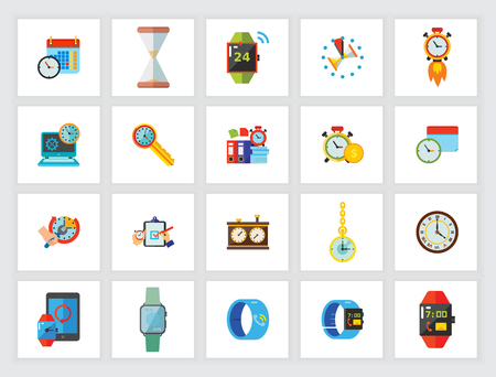 Time concept. Flat icon set. Time management, deadline, planning. Can be used for topics like modern technology, business, strategy Illustration