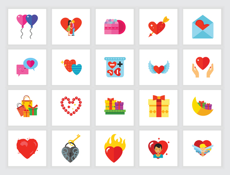 St. Valentine Day holiday concept. Flat icon set. Love, heart symbol, dating. Can be used for topics like relationships, holidays, celebration