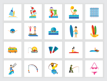 Water sport concept. Flat icon set. Swimming pool, competition, leisure. Can be used for topics like sport, vacation, hobby, travel Vectores