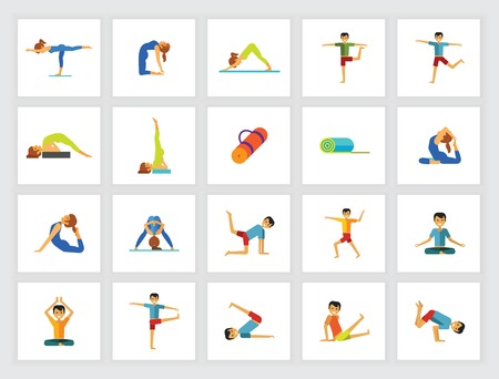 Yoga poses concept. Flat icon set. Meditation, asana, gymnastics. Can be used for topics like sport, health, fitness  イラスト・ベクター素材