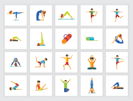 Yoga positions concept. Flat icon set. Yoga class, asana, exercise. Can be used for topics like sport, health, fitness