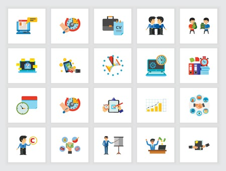 Achieving business goals icon set. Can be used for topics like training, self-organization, planning, multitasking