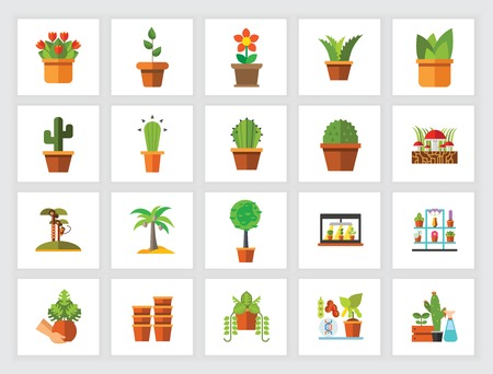 Potted plants icon set. Can be used for topics like horticulture, home decoration, houseplant, botany Stock Illustratie