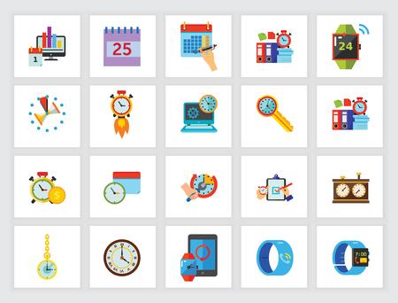 Gestion du temps efficacement jeu d'icônes. Peut être utilisé pour des sujets tels que rendez-vous, date limite, contrôle du temps, calendrier