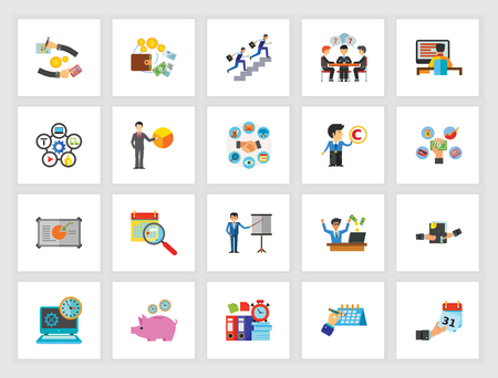 Business icon set. Can be used for topics like corporate, management, project, saving time Vectores