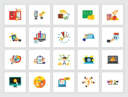 Creative business icon set. Can be used for topics like company, strategy, statistics, audit Vector Illustration