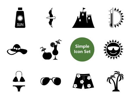 Beach simple icons set with Aloha shirt, Hawaiian shorts and sunglasses. Thirteen flat icons