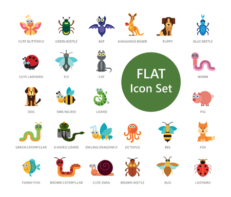 Set of 33 vector icons representing cute domestic and wild cartoon animals