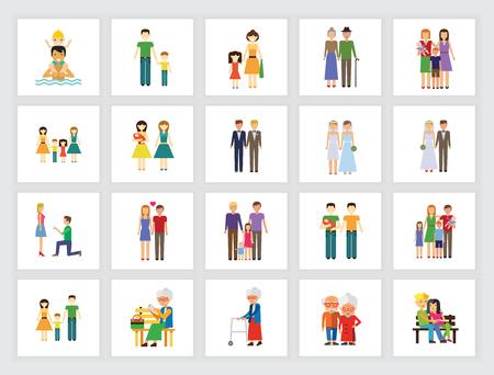 Conjunto de iconos familiares. Se puede utilizar para temas como parientes, padres, bodas, vida sencilla.
