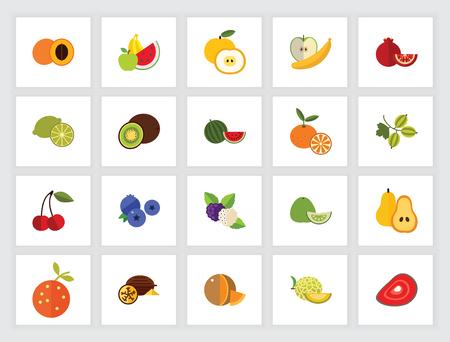 Fresh fruits icon set. Can be used for topics like summer, healthy food, detox, organic Ilustração Vetorial