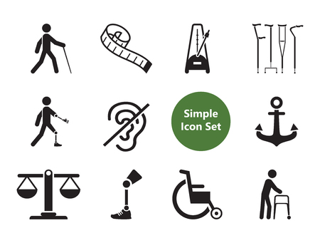 Disabled icons set with wheelchair, prosthesis and crutches. Thirteen simple icons
