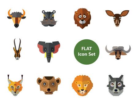 Animal Faces Icon Set. Lion Head Zebra Hippo Head Giraffe Face Lion Face Wolf Elephant Head Antelope Meerkat Face Doe Head Ox Face Red Lynx Bull Illustration