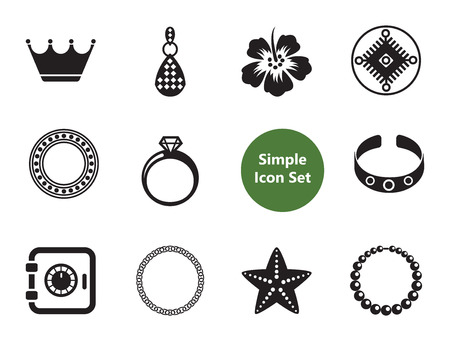 Jewelry vector icons set with shiny diamond, necklace and ring. Thirteen simple icons
