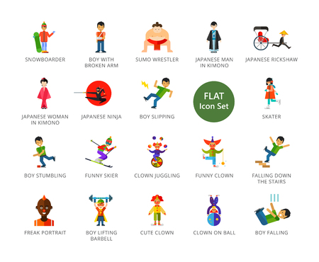 People icons set. Twenty two multicolored vector illustrations