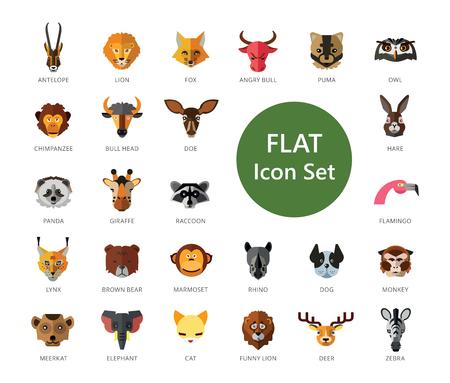 Set of 33 vector icons representing cute wild cartoon animals