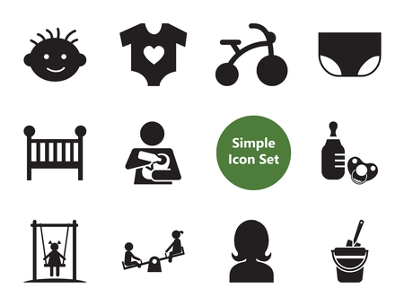 Baby simple icons set with teddy bear, bicycle and baby bed. Thirteen vector icons Vector Illustration