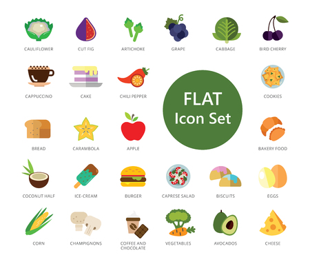 Set of 33 vector icons representing various types of food Vector Illustratie