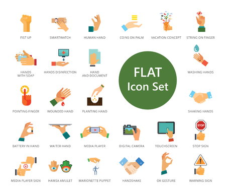 Hands icons set. Thirty three multicolored flat icons