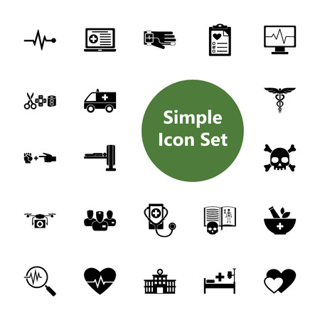 Icon set of hospital, pharmacy and diagnostics signs. Clinic, treatment, examination. Healthcare concept. For topics like medicine, health, service