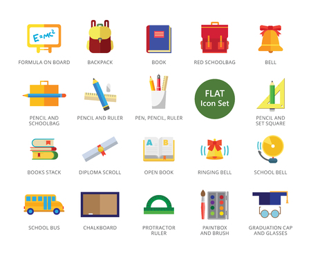 School icons set with school bells, books and stationary. Twenty two multicolored flat icons Illustration