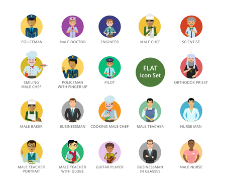 Men icons set. Twenty two multicolored vector illustrations of men of different professions Vettoriali