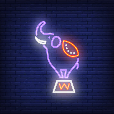 Circus elephant neon icon. Trained animal on stand on dark brick wall background. Night bright advertisement. Vector illustration in neon style for performance poster or toy shop