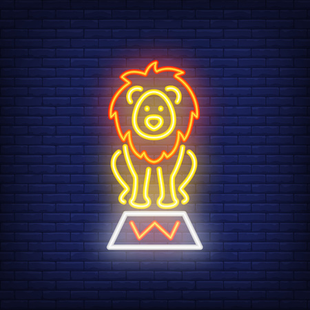 Circus lion neon icon. Trained wild animal on stand on dark brick wall background. Night bright advertisement. Vector illustration in neon style for performance poser or toy shop