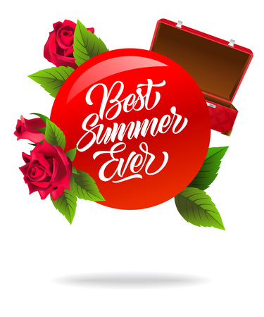 Best summer ever poster design with red open suitcase and roses. Calligraphic text on red circle can be used for greeting cards, postcards, signs, banners.