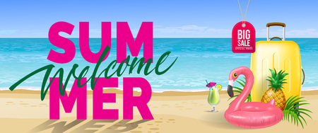Big sale, welcome summer banner design. Cold drink, pineapple, toy flamingo, yellow travel case, beach, ocean. Text can be used for flyers, labels, posters.