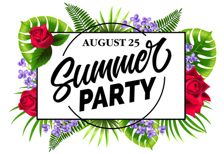 August twenty five, summer party flyer design with exotic leaves, lilac and roses. Typed and calligraphic text in circle can be used for posters, banners, invitations.