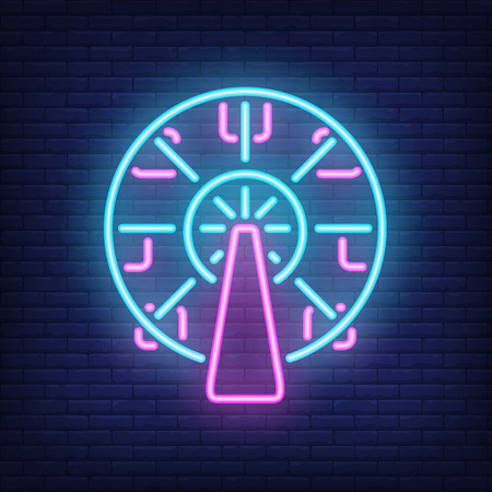Ferris wheel neon sign. Amusement park carousel on dark brick wall background. Night bright advertisement. Vector illustration in neon style for entertainment or festival  イラスト・ベクター素材