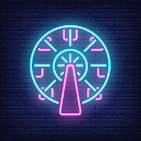 Ferris wheel neon sign. Amusement park carousel on dark brick wall background. Night bright advertisement. Vector illustration in neon style for entertainment or festival Illustration