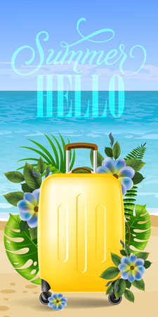 Hello summer, vertical banner design with palm leaves, blue flowers, yellow travel case, beach and ocean. Calligraphic text can be used for labels, flyers, posters.