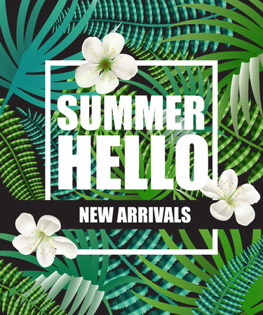 Hello summer, new arrivals poster design with blossoms and tropical leaves in background. Text in frame can be used for brochure, labels, banners.