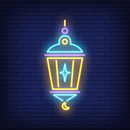 Islamic lantern neon sign. Lamp with star and crescent on dark brick wall background. Night bright advertisement. Vector illustration in neon style for decoration or celebration