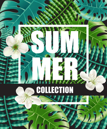 Summer collection poster design with flowers and big leaves in background. Text in frame can be used for brochure, labels, banners