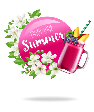 Enjoy your summer seasonal poster design with blossoms and fruit drink. Typed and calligraphic text on magenta circle can be used for banners, labels, postcards, brochures.